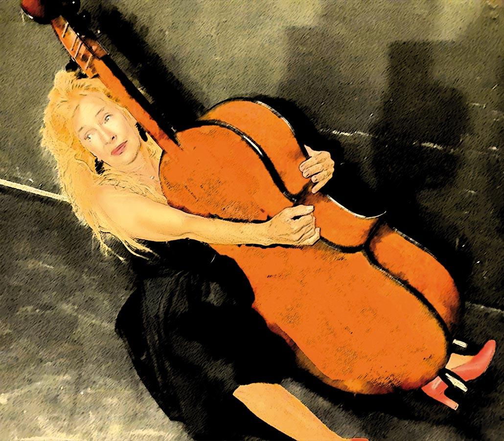 Pièce pour une femme, une violoncelle... - illustration